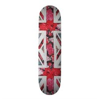 Elegant girly red floral & lace Union Jack flag Custom Skateboard from Zazzle.com