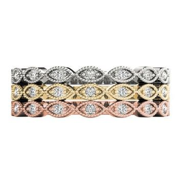 Stackables 1/2 Eternity Tri-Tone Gold Petite Marquise Milgrain Set 3-Band Set