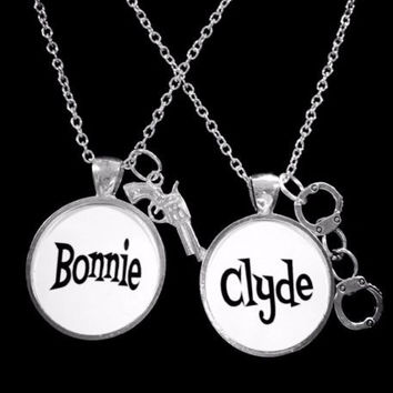 Bonnie And Clyde Handcuff Gun Gift For Couples His And Hers Necklace Set
