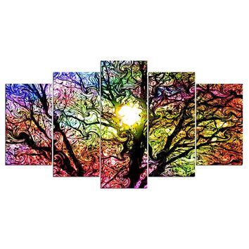 5 piece canvas pop art Colorful Sun Tree modern modular wall art
