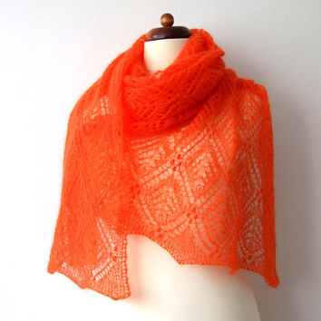 orange lace shawl handknit mohair wrap