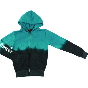 "Butter GIRLS ""PUPPY LOVE"" DIP DYE ZIP HOODIE - TEAL/CHARCOAL"