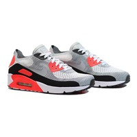 AUGUAU NIKE Air Max 90 Ultra 2.0 Flyknit - White/Wolf Grey-Bright Crimson