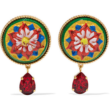 Dolce & Gabbana - Gold-tone, resin and crystal clip earrings
