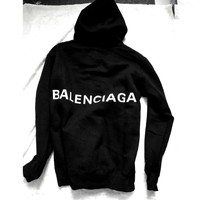 Balenciaga Long Sleeve Hedging Pullover Sweater Hoodies Black