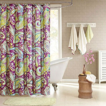 Yellow And Teal Shower Curtains