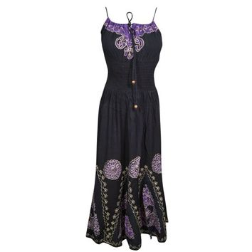 Mogul Womens Beach Party Dress Batik Embroidered Strapy Elastic Waist Boho Chic Rayon Black Sundress M - Walmart.com