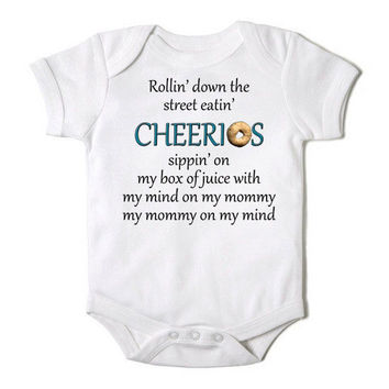 Design of the Day - Rollin Down the Street Eating Cheerios Funny Baby Boy / Girl Onesuit Bodysuit