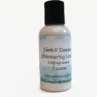Firming Hydrating Neck & Décolleté Shimmering Lotion, 2 ounces, glitter lotion, firming lotion,  sparkle