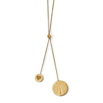 14k Yellow Gold Heart Family Tree Lariat Adjustable Necklace, 20 Inch