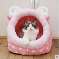 Pink Polka Dot Cat Bed