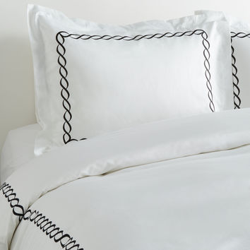 Melange Home Rope Embroidered Duvet Set - Black -