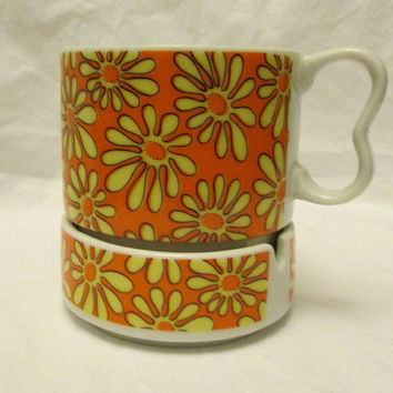 "Daisy Coffee Mug Ashtray Set ""Coffee Break"" - Both Marked Japan - Orange Background With Yellow Daisies - MINT. Very Mod & Vintage"