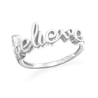 """Sterling Silver Polished Script """"believe"""" Ring"""