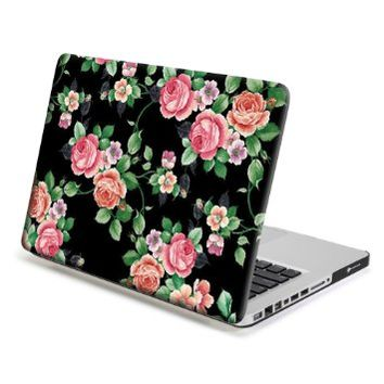 MacBook Pro 13 Case, GMYLE Hard Case Print Frosted for MacBook Pro 13 inch (Model : A1278) - Black Floral Rose Pattern Rubber Coated Hard Shell Case Cover (Not fit for Macbook Pro 13 inch with Retina Display A1425 and A1502)