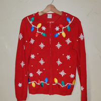 Vintage 80s Sweater Zip Up Cardigan Sweater Christmas Sweater Ugly Christmas Sweater Snowflakes Christmas Bulbs Sweater Christmas Size Small