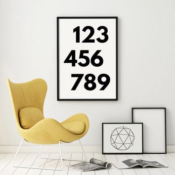 Print Home Decor  Giclee Screenprint Gallery Wall Large Kunst Graphics Numbers Scandinavian Style Home Decoration Druck PRINTABLE