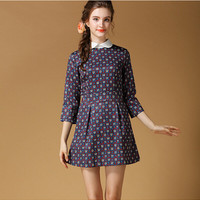 Patterned Sleeve Peter Pan Collar Pleated Dress