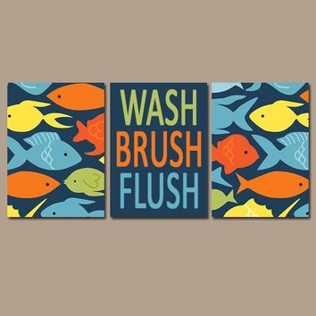 FISH Bathroom Wall Art, FISH CANVAS or Prints, Nautical Bath Decor, Wash Brush Flush, Colorful Kid Bathroom Wall Decor, Set of 3 Decor