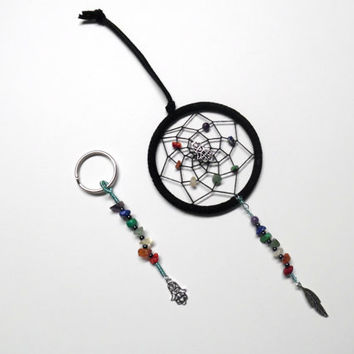 Car dream catcher and keychain set/ chakra crystals, hamsa hand, feather charm