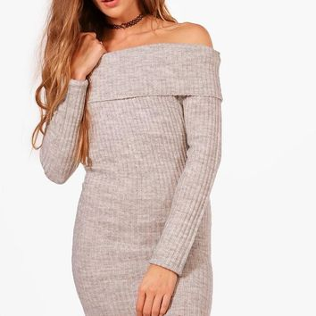 Laura Ribbed Bardot Off The Shoulder Dress | Boohoo