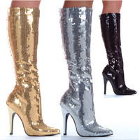 Knee High Sequin Boots