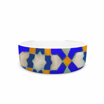 "S Seema Z ""MORROCON BLUES"" Blue Pattern Pet Bowl"