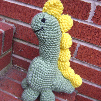 Crochet Plush Green Dinosaur Stuffed Toy