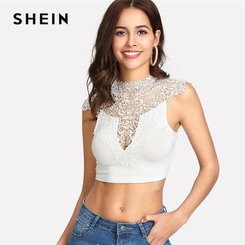 SHEIN Lace Shoulder Tie Back Bow Slim Crop Top White Stand Collar Backless Sheer Plain Vest 2018 Women Sexy Party Top Vest