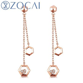 ZOCAI earrings New Arrival The Honeycomb Series Real 0.03 CT Diamond Drop Earrings 18K Rose Gold JBE90229T