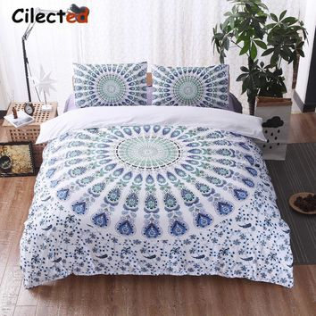 Cilected Bohemian Bedding Set Purple White Blue Mandala Duvet Cover Set Romantic Soft Bedclothes Boho Bed Set 2/3 Pieces