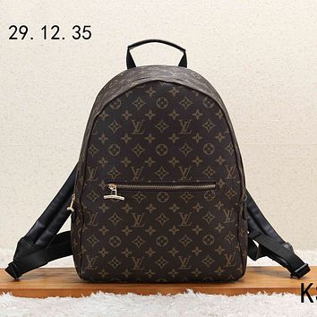 LV Louis Vuitton 2018 new men's casual wild casual canvas backpack Coffee  Monogram