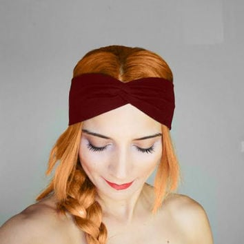 burgundy twist hairband, headbands,Pilates headbands,red headbands,yoga headbands,