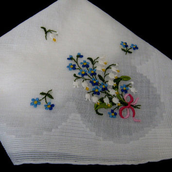 Vintage Hanky Off White Handkerchief  Embroidered Floral Handkerchief Large