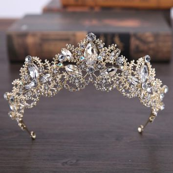 Hot Sale Luxury Crystal Bridal Crown Tiaras Gold Color Diadem Tiaras for Women Bride Wedding Hair Accessories
