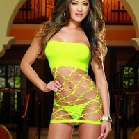 Lime Seamless Versatile Strapless Dress G-String Set