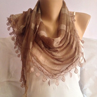 Brown Scarf - Light Brown Striped Scarf - Oya Lace Scarf  - Triangle Scarf Shawl - Anniversary Scarf Gift