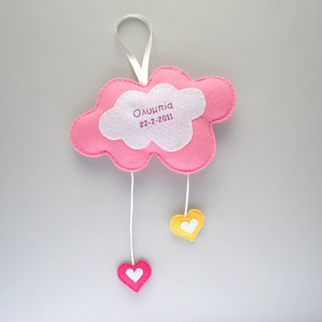Pink cloud mobile, personalized nursery decor, kids decor, baby mobile, custom made mobile, colorful hearts, embroidered name and date