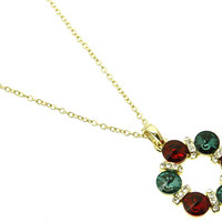 NECKLACE / CRYSTAL STONE / LINK / METAL / CHRISTMAS / 1 1/2 INCH DROP / 16 INCH LONG / NICKEL AND LEAD COMPLIANT