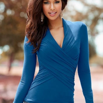Women V-Neck With Long Sleeves Shirt Blue