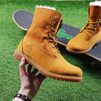 Best Online Sale Timberland Authentics Waterproof Fold DownShearling Wheat-colored Mid Boots Outdoor Sneaker
