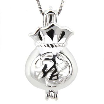 925 Sterling Silver Lucky Bag Pearl Cage Pendant