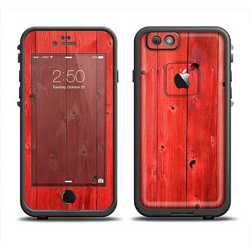 The Red Highlighted Wooden Planks Skin Set for the Apple iPhone 6 LifeProof Fre Case