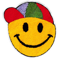 XXL Extra Large Cool Chenille Yellow Smiley Face Smile Patch Badge 20cm Applique