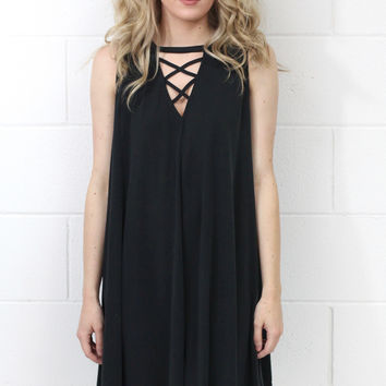 Modal Crisscrossed Swing Tank Dress {Black}