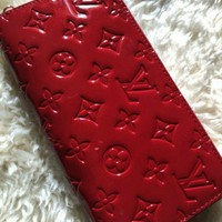 Louis Vuitton Red Vernis Long Zippy Wallet Used With Box