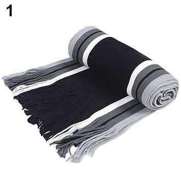 Bluelans Men's Classic Acrylic Shawl Winter Warm Long Fringe Striped Tassel Scarf 7 Colors
