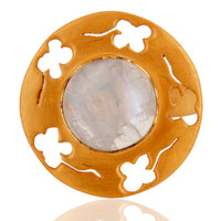 18K Gold Over Sterling Silver Natural Rainbow Moonstone Cocktail Ring