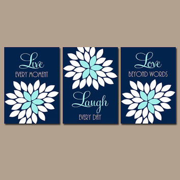 Live Laugh Love Navy Aqua Wall Art CANVAS or Prints Nursery Baby Girl Bedroom Wall Art Girl Nursery Girl Wall Art Set of 3 Bedroom Decor