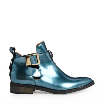 Miista Patent Blue Cut Out Boots